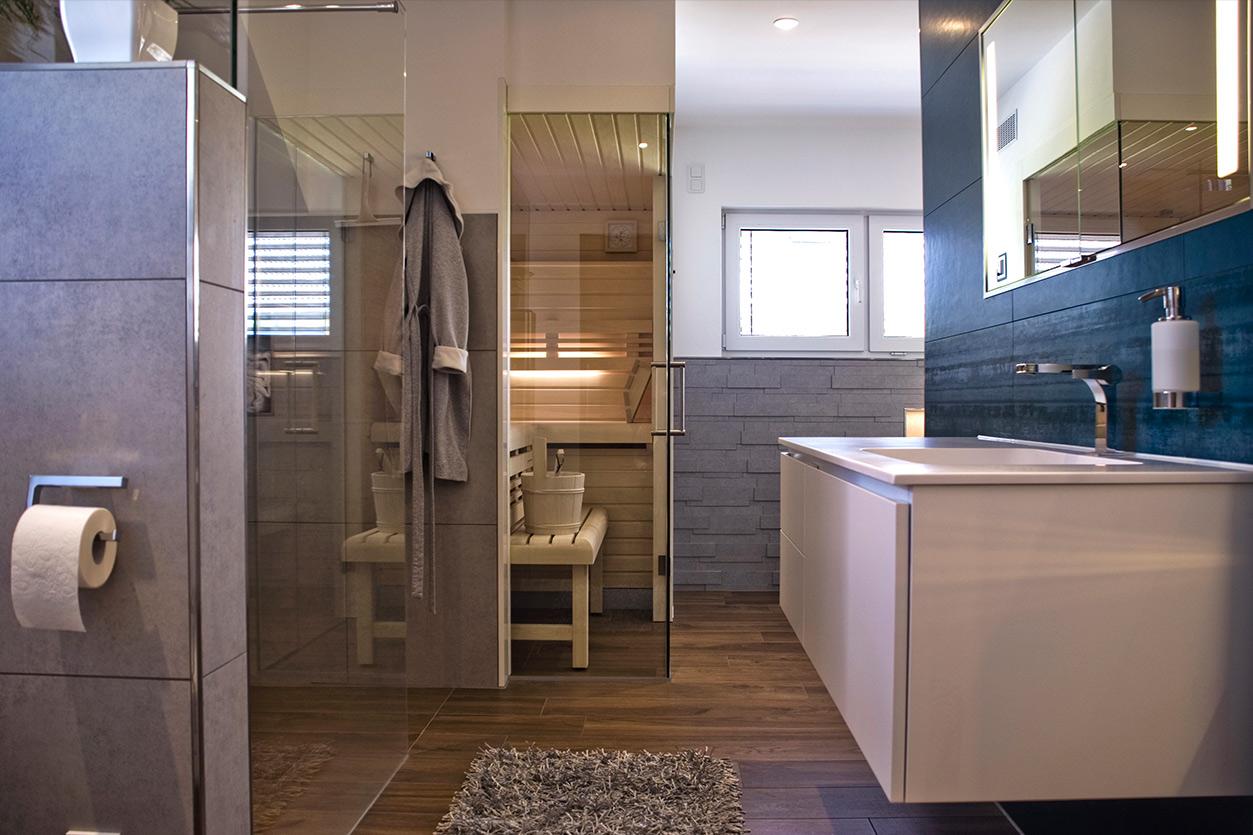 Wagner Bad, Aqua Cultura Referenz, Familienbad, Sauna mit Waschplatz und WC