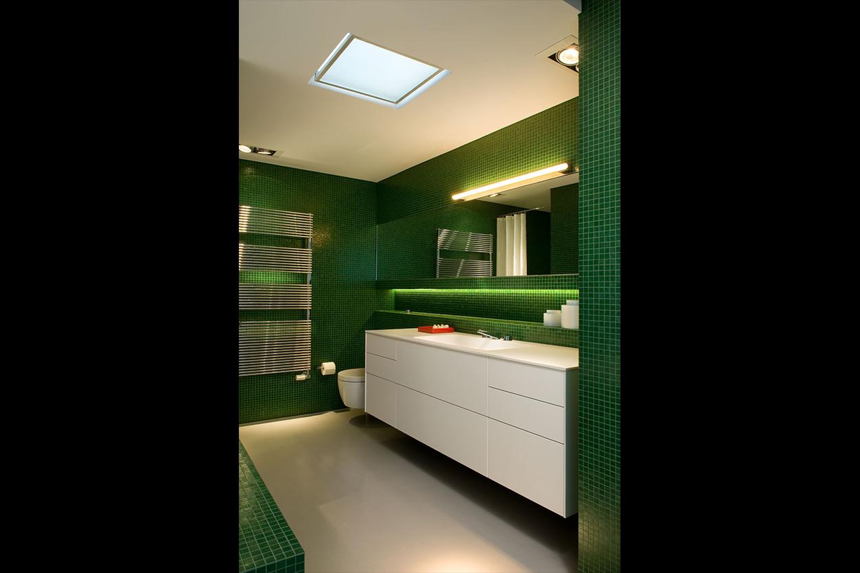 Dreyer Bad, Aqua Cultura Referenz, großes Bad, Loft, grünes Mosaik