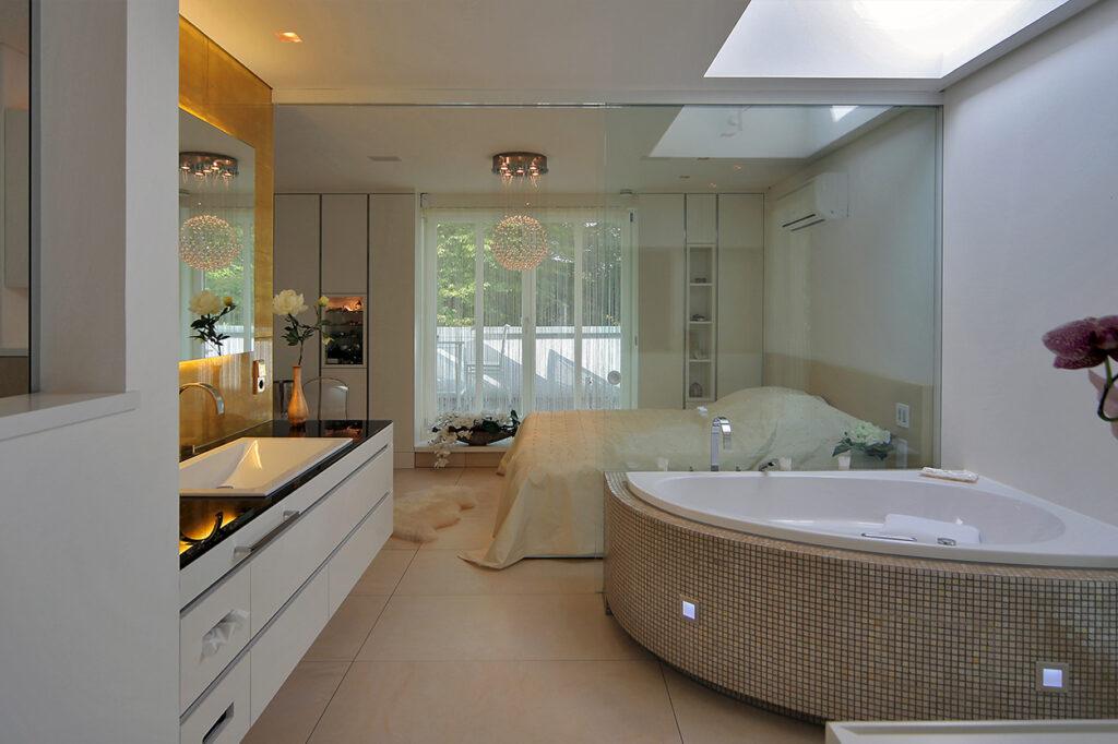 Boddenberg Bad, Aqua Cultura Referenz, Wellnesbad mit Sauna, Bad mit Sauna, schlafen und baden, offene Raumgestaltung