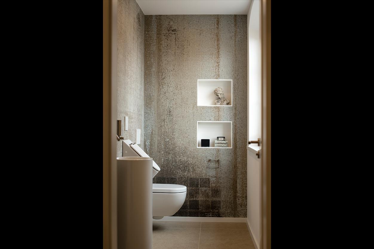 Bukoll Bad, Aqua Cultura Referenz, kleines Bad, Goldflair, stilvoll, Gäste WC