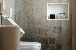 Bukoll Bad, Aqua Cultura Referenz, kleines Bad, Goldflair, Urinal, Toilette, Ablage, Gäste WC